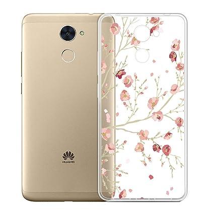 Funda para Huawei Y7 Prime 2017 / Huawei Y7 2017 / Enjoy 7 Plus , IJIA Transparente Rosado Flor del Melocotón TPU Silicona Suave Cover Tapa Caso ...