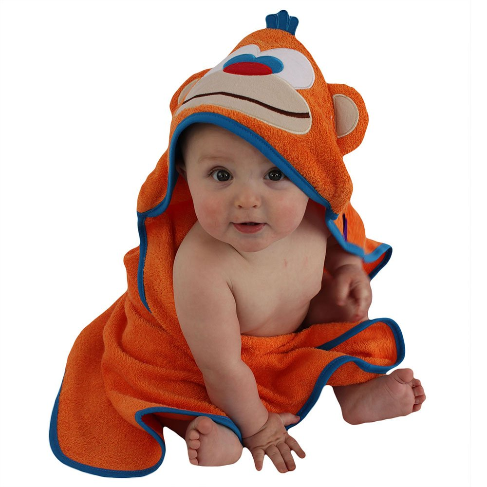 Sozo Baby-Boys Newborn Monkey Hooded Towel Orange 0-2 Years Sozo Children' s Apparel HOOD23