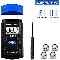HoldPeak HP-2GD Humidimètre Numérique pour le Bois, Humidimètre pour Bois, de Type à Broches, Température et Humidité de Test, Données Conservées/Contre-Jour/Plage de Test 6-42%