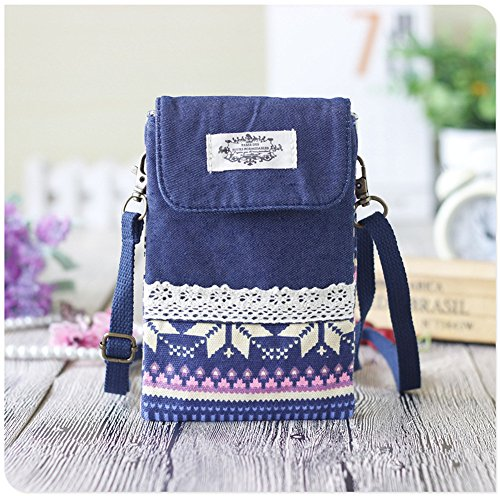 Urmiss(TM) Vintage Universal Cross-body Cell Phone Case Mini Canvas Shoulder Bag with Magnetic Snap for Women Ladies Teens Girls Kids, Purple Stripe ()