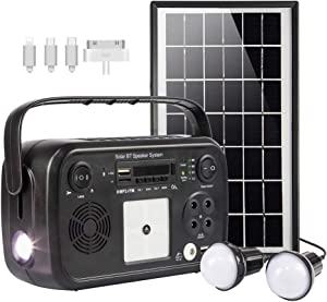 soyond Portable Solar Generator with Solar Panel Solar Powered Generator Kit with Flashlights, Bluetooth, MP3 Player, FM Radio for Home Emergency Backup Power Camping Outage(Black Retro Style)