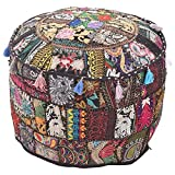 Indian Home Decor Art Ottoman Pouf Cover Pouffe Decorative Foot Stool Covers Traditional Handmade Cotton Living Room Ottomans Round Comfortable Embroidered PatchWork Floor Cushion 22''x14'' (Black)