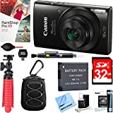 Canon PowerShot ELPH 190 IS Digital Camera with 10x Optical Zoom (Black) + 32GB Deluxe Accessory Bundle