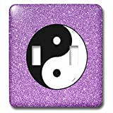 3dRose Sven Herkenrath Symbol - Yin Yang with purple Background Symbol Sign Balance Meditation - Light Switch Covers - double toggle switch (lsp_254312_2)
