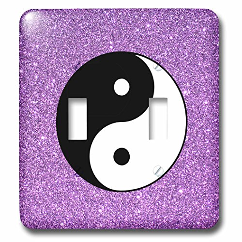 3dRose Sven Herkenrath Symbol - Yin Yang with purple Background Symbol Sign Balance Meditation - Light Switch Covers - double toggle switch (lsp_254312_2) by 3dRose