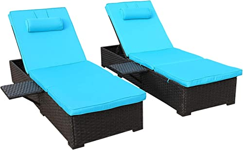 Outdoor PE Wicker Chaise Lounge – 2 Piece Patio Black Rattan Reclining Chair Furniture Set Beach Pool Adjustable Backrest Recliners with Turquoise Cushions
