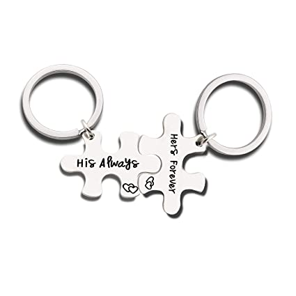 50164fde95 Amazon.com : Couples Jewelry Accessories Silver Key Chains Rings Keychain  Valentines Gifts for Husband Wife Boyfriend Girlfriend (6) : Office Products