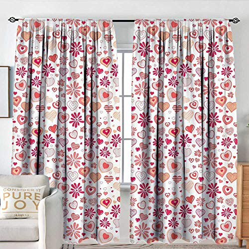 Petpany Window Blackout Curtains Love,Different Abstract Heart Shapes and Flowers Doodle Style Happy Retro Romantic,Coral Peach Magenta,for Room Darkening Panels for Living Room, Bedroom 54