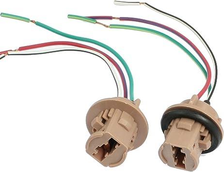 uxcell 2 Pcs T20 7443 LED Bulb Brake Signal Light Socket Harness Wire Ash Blue