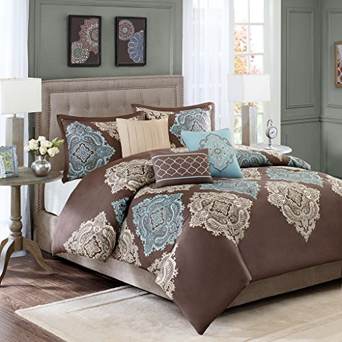 Madison Park Monroe Down 200 Thread Count 6 Piece Duvet Cover Set, King/California King, - Piece Set Duvet 6