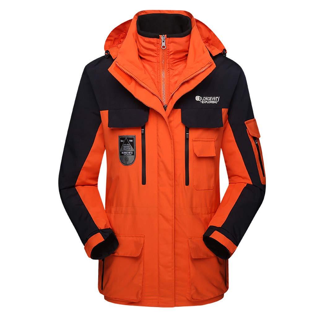 Luca-Coat LUCAMORE Unisex Hooded Waterproof Windbreaker Jacket Detachable Rain Jacket Outdoor Casual Sportswear Orange by Luca-Coat