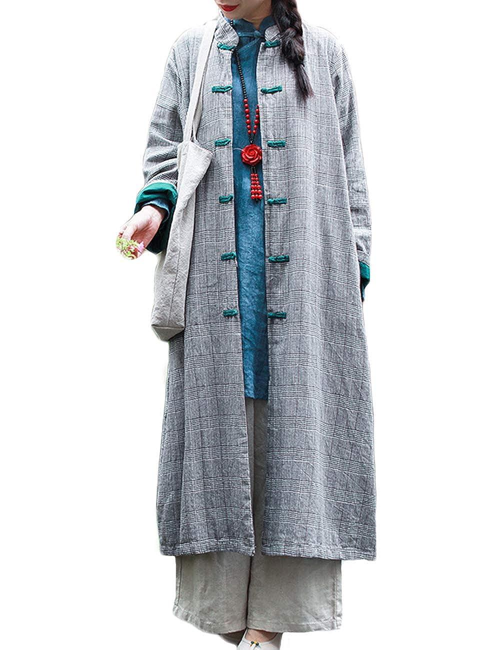 LZJN Women's Autumn Trench Coat Jacket Cotton Linen Plaid Windbreaker
