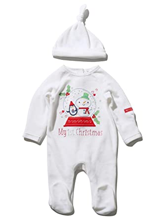 892c32fd3ce M Co Newborn Unisex Baby White Velour Embroidered My First Christmas Slogan  Snow Globe Sleepsuit and Hat