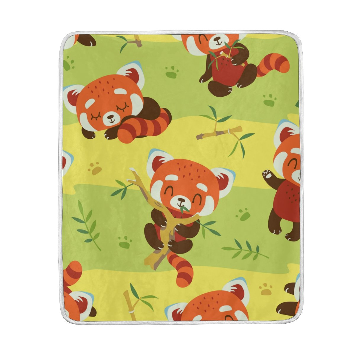 My Little Nest Warm Throw Blanket Cartoon Red Panda Green Lightweight MicrofiberSoft Blanket Everyday Use for Bed Couch Sofa 50'' x 60''