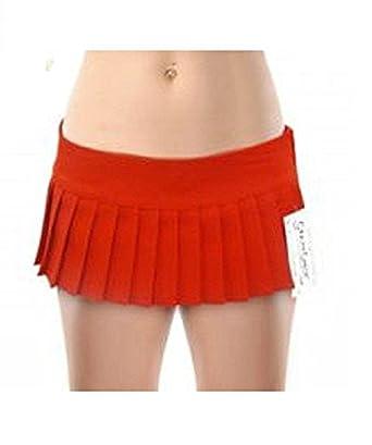 "4c8637f12e Vogueland New Ladies Girls Sexy Plain Mini Pleated Skirt 7"" Micro Mini  Skirt Black Red"