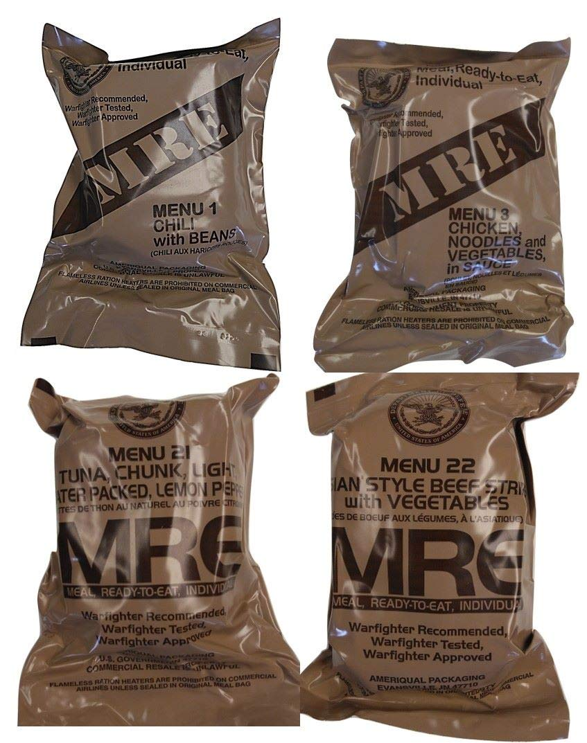ULTIMATE MRE, Pack Date Printed on Every Meal - Meal-Ready-To-Eat. Inspected Certified by Western Frontier. Genuine Mil Surplus. (4-Pack) by Western Frontier