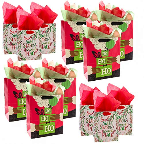 Hallmark (12 Pack) Bags Assorted Sizes Tags Tissue for Gifts Large Small Black Santa