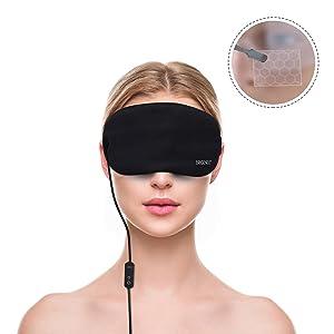 Graphene Heated Eye Mask for Dry Eyes, USB Far-Infrared Eye Heating Pad, Silk Sleep Mask for Blepharitis Puffy Eyes Relief