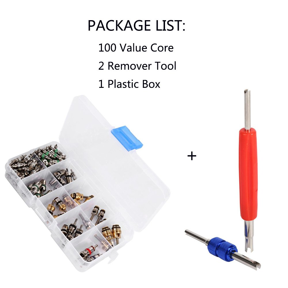 YVO Car Air Conditioning Valve Core Kit Auto AC Repair Complete Tool Box Set A/C R12 R134A Refrigeration Tire Valve Stem Cores Remover Installation Tool Assortment Set - 102PCS by YVO (Image #7)