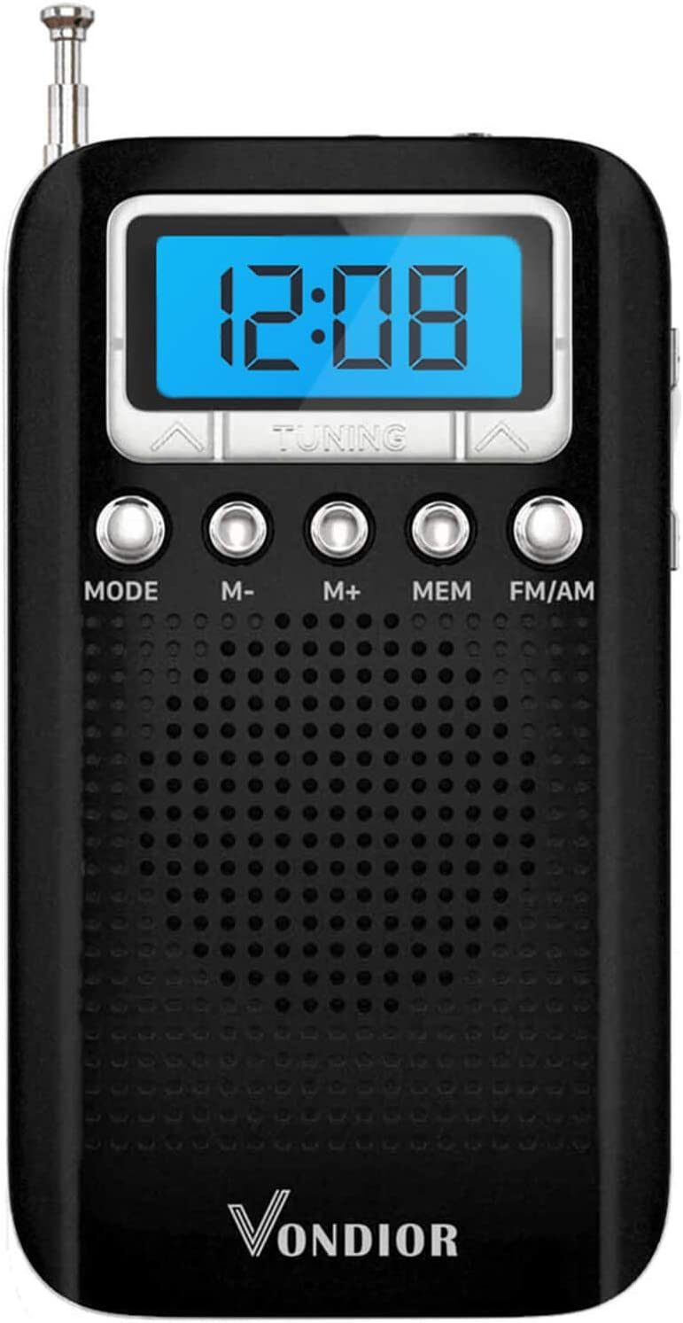 Digital AM FM Portable Pocket Radio with Alarm Clock- Best Reception and Longest Lasting. AM FM Compact Radio Player Operated by 2 AAA Battery, Stereo Headphone Socket (Black), by Vondior: Electronics