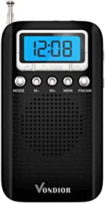 Digital AM FM Portable Pocket Radio with Alarm Clock- Best Reception