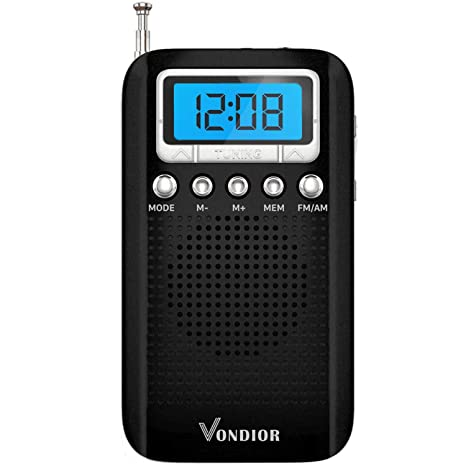 Digital AM FM Portable Pocket Radio with Alarm Clock- Best Reception and  Longest Lasting  AM FM Compact Radio Player Operated by 2 AAA Battery,  Stereo