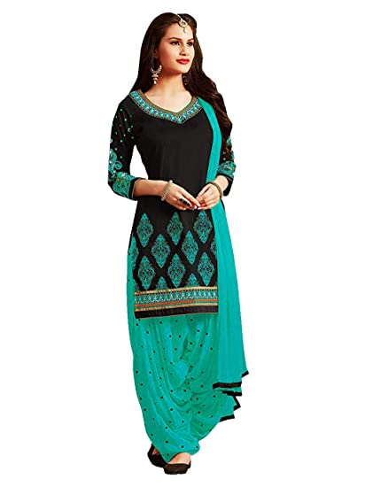 9e468b7e48 PanashTrends Women's Cotton Embroidery Work Semi-stitched Salwar Suit  (Black and Firozi, Free