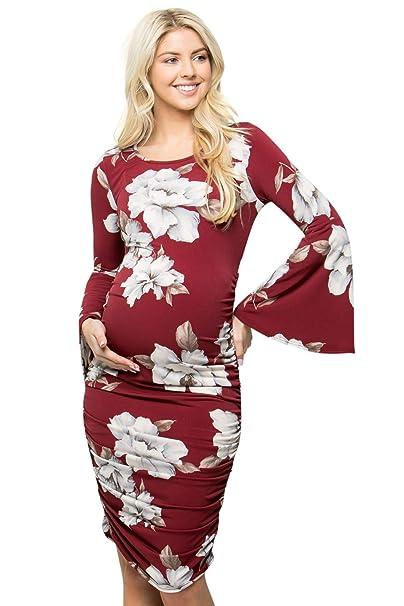 c50c8e29e My Bump Vestido de Maternidad con Mangas Acampanadas y Fruncido para Mujer