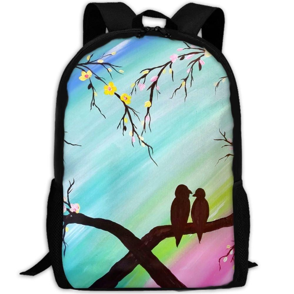 Webb Backpack Laptop Travel Hiking School Shoulder Bags Love Birds Stylish Daypacks