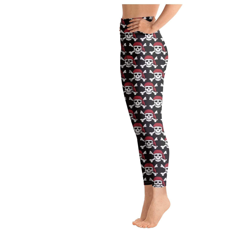 Cute Yoga Pants for Womens Capri Leggings Skull Green Pink Comfy Sports Leggings