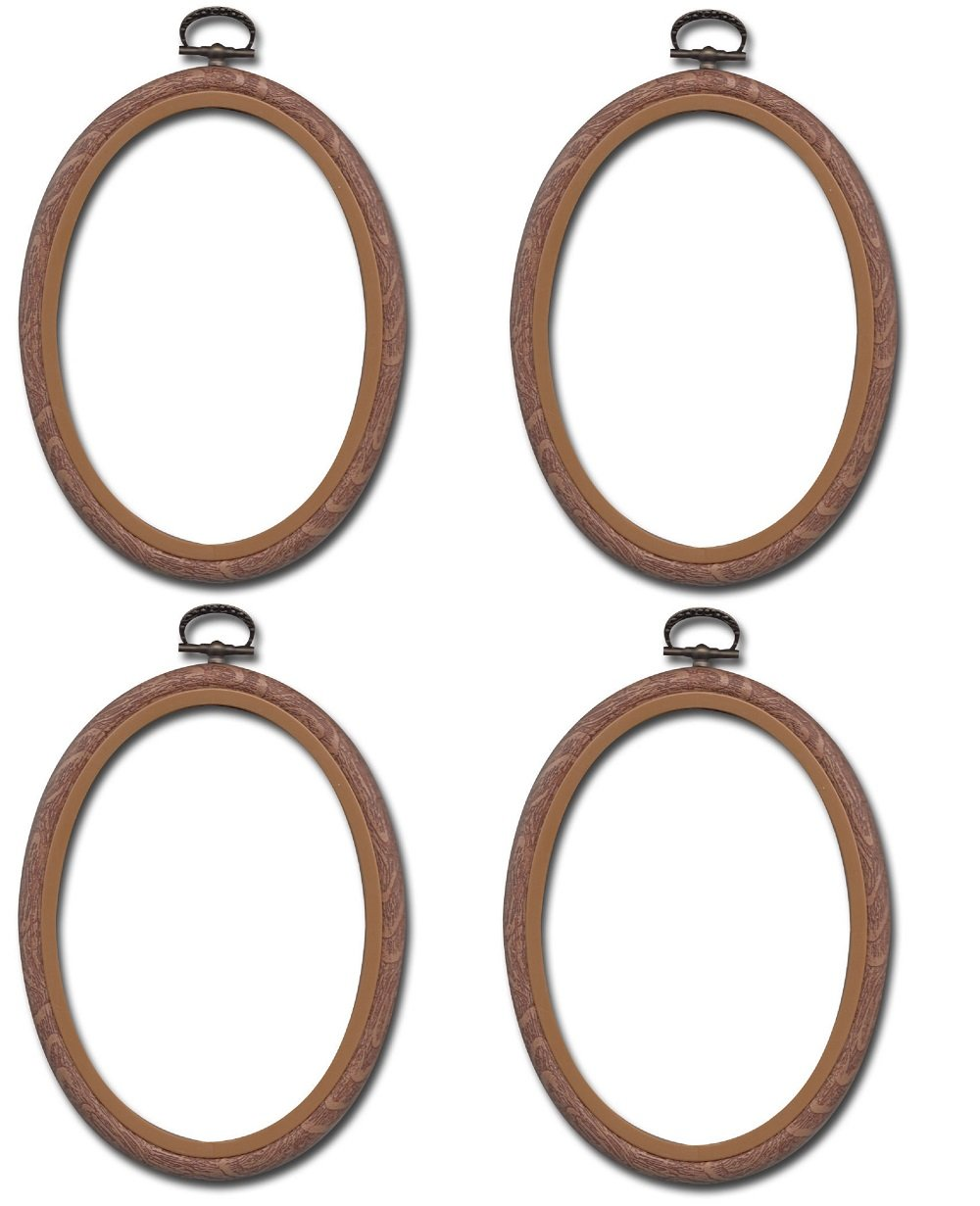 Lumiere Embroidery Hoop Oval Cross Stitch Hoop 4 Pieces Ring Ornament (S)