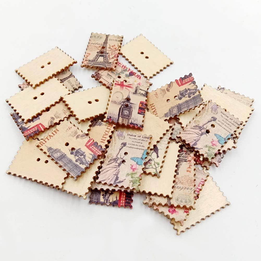 Ogquaton 30 Pcs Rectangle Timbre Style Boutons En Bois pour Artisanat Couture Scrapbooking DIY V/êtements D/écor Accessoire /Él/égant et Populaire