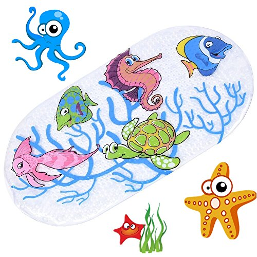 Price comparison product image Kids Non Slip Bath Mat with Suction Cups Mildew Resistant Non Slip Baby Shower Mats for Children Sea Turtle