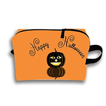 Waterproof Cosmetic Bags Orange Halloween Portable Travel Makeup Pouch Organizer