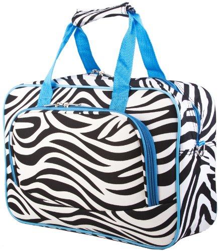 Blue Trim Zebra Overnight Travel Bag, Bags Central
