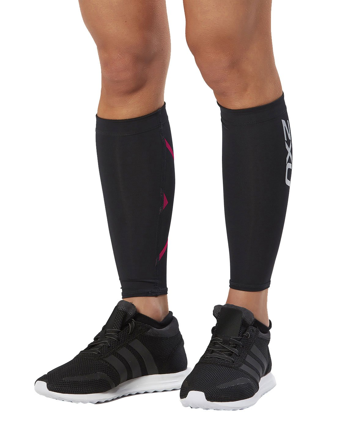 2XU Compression Calf Guard, Black/Pink Glow, X-Large