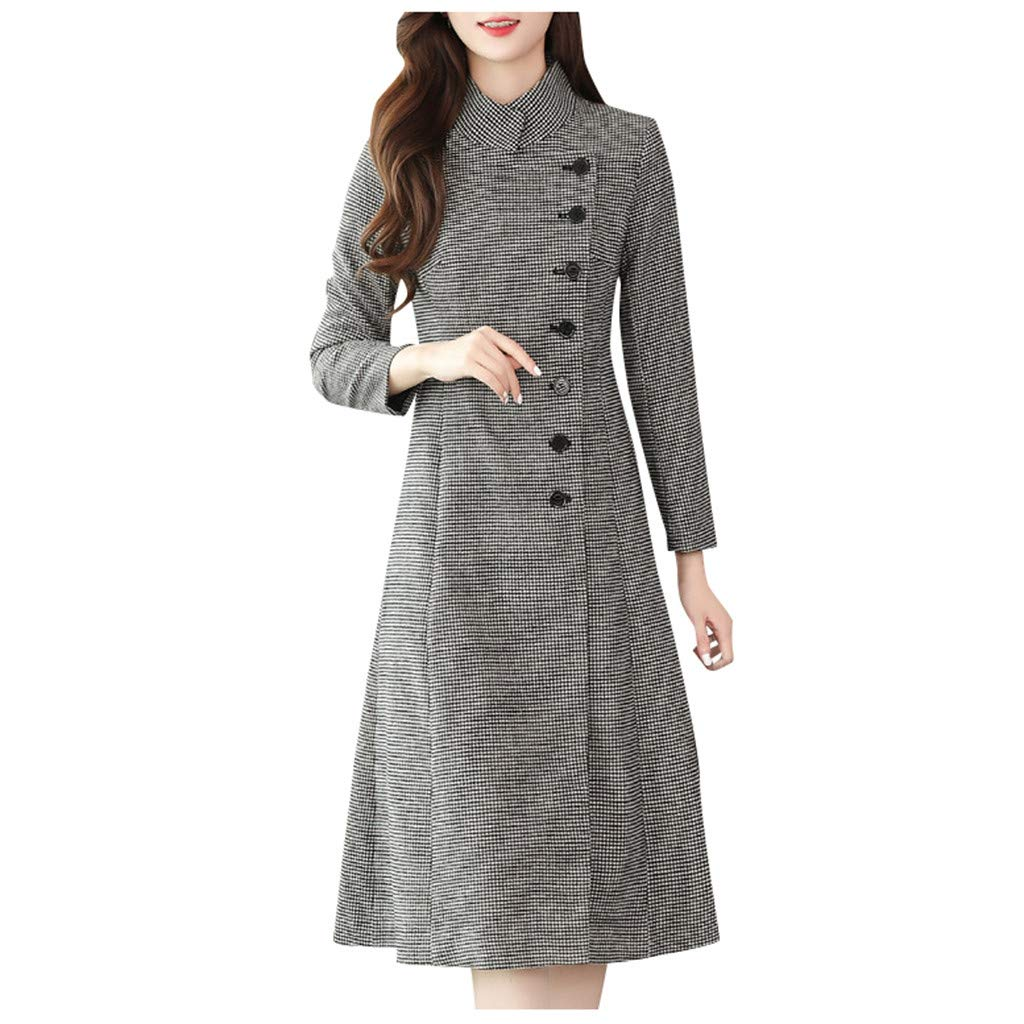 Yanvan Womens Outwear Winter Coat Oversize Lapel Cashmere Wool Blend Belt Trench Coat Outwear Jacket by Yanvan