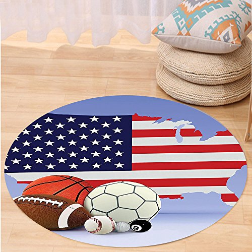 VROSELV Custom carpetAmericana Decor Collection American Map And Sport Balls Basketball Baseball Football Soccer Competition Matches Bedroom Living Room Dorm Round 72 inches by VROSELV