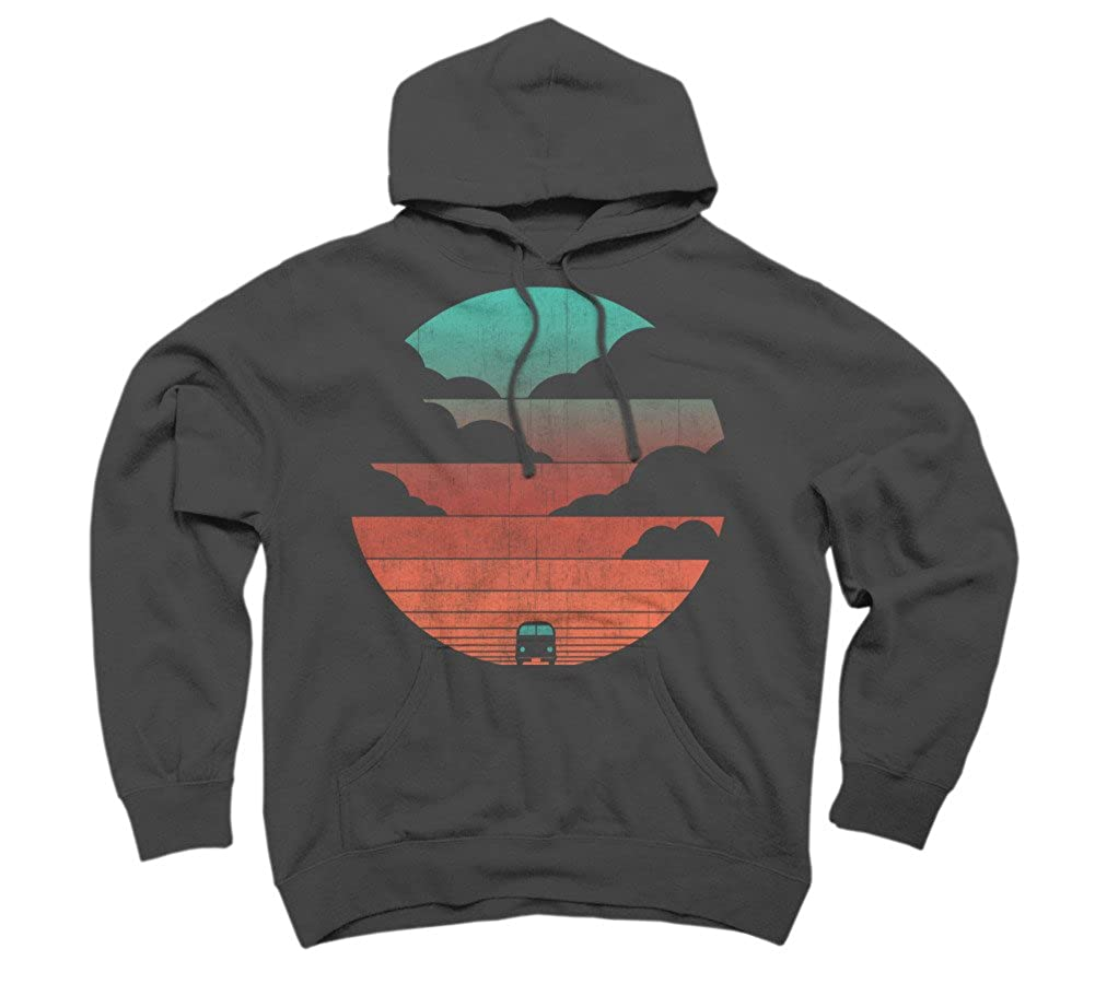 Design By Humans Driving into The sunset Mens Graphic Pullover Hoodie