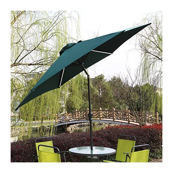 AOODA 10 ft LED Lighted Patio Umbrella LED Solar Power Table Market Umbrella LED Waterproof Strip, with Tilt Adjustment and Crank Lift System - AOODA 10 ft LED lighted patio umbrella add a festive mood to any occasion, perfect for any patio or party setting;NOTE: The solar power panel needs be charged for 8 hrs in the sun to gain the enough energy to charge the LED lights during the night; And the on-and-off switch also needs be turned off in the daytime Has a LED waterproof strip on each rib, 6 aluminum rib construction, On and Off switch for umbrella solar light, which runs 6-7 hours (10,000 hours of usage) Hassle-free setup & storage; Featured a classic crank handle with adjustable tilt function, gives more coverage and cool air, ideal for outdoor 4-6 seats patio table - shades-parasols, patio-furniture, patio - 61XDN6Mt68L. SS570  -