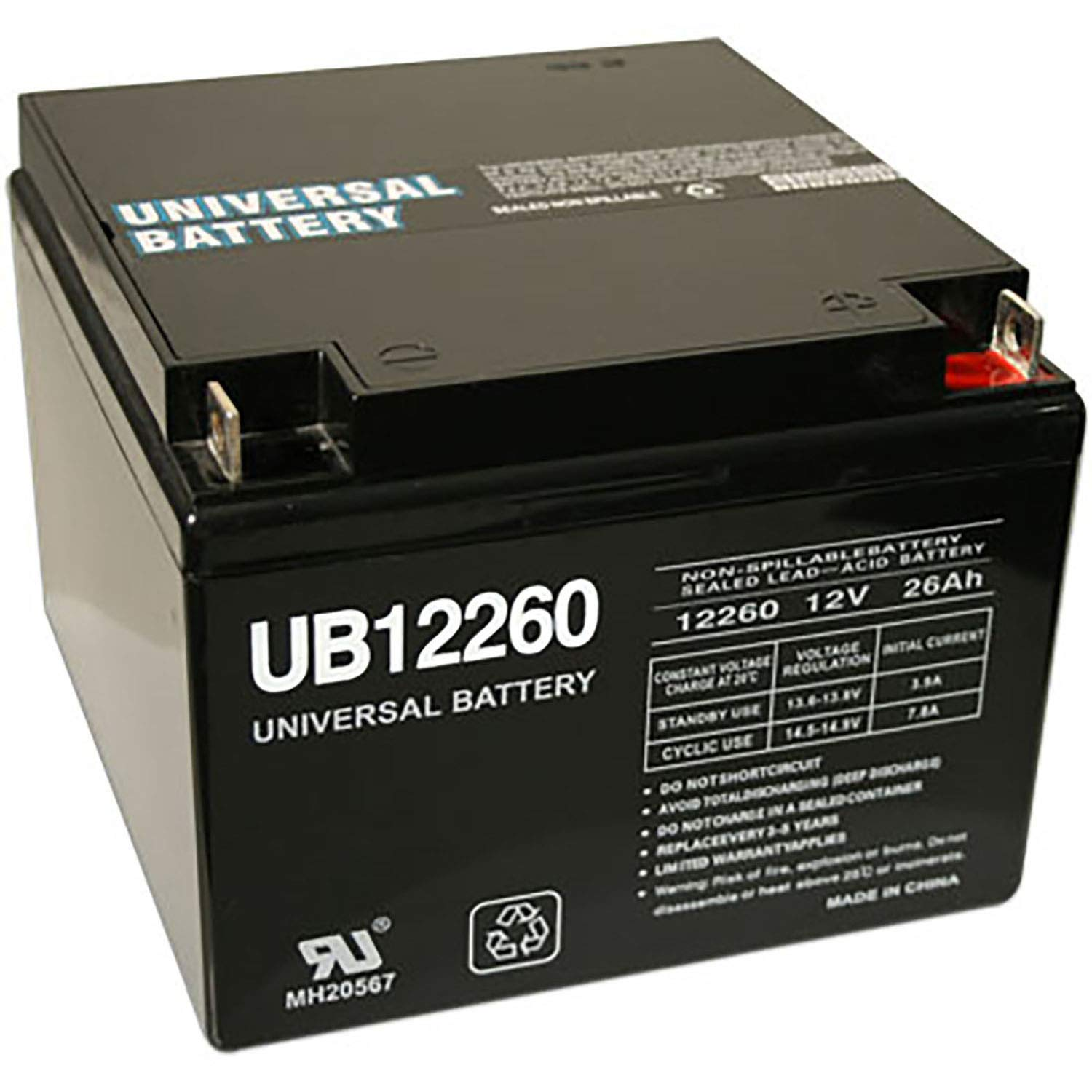 Universal Power Group 12V 26AH Replacement for CSB EVX12260 Deep Cycle AGM Battery