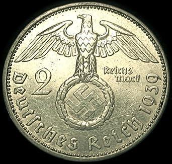 1939 A  2 mark German WWII Silver Coin Third Reich Reichsmark 5*