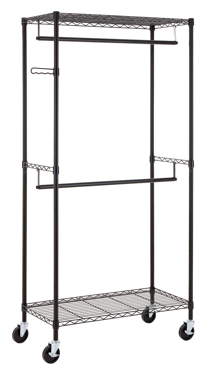 Finnhomy Heavy Duty Rolling Garment Rack Clothes Hangers with Double Rods and Shelves, Black Thicken Steel Tube