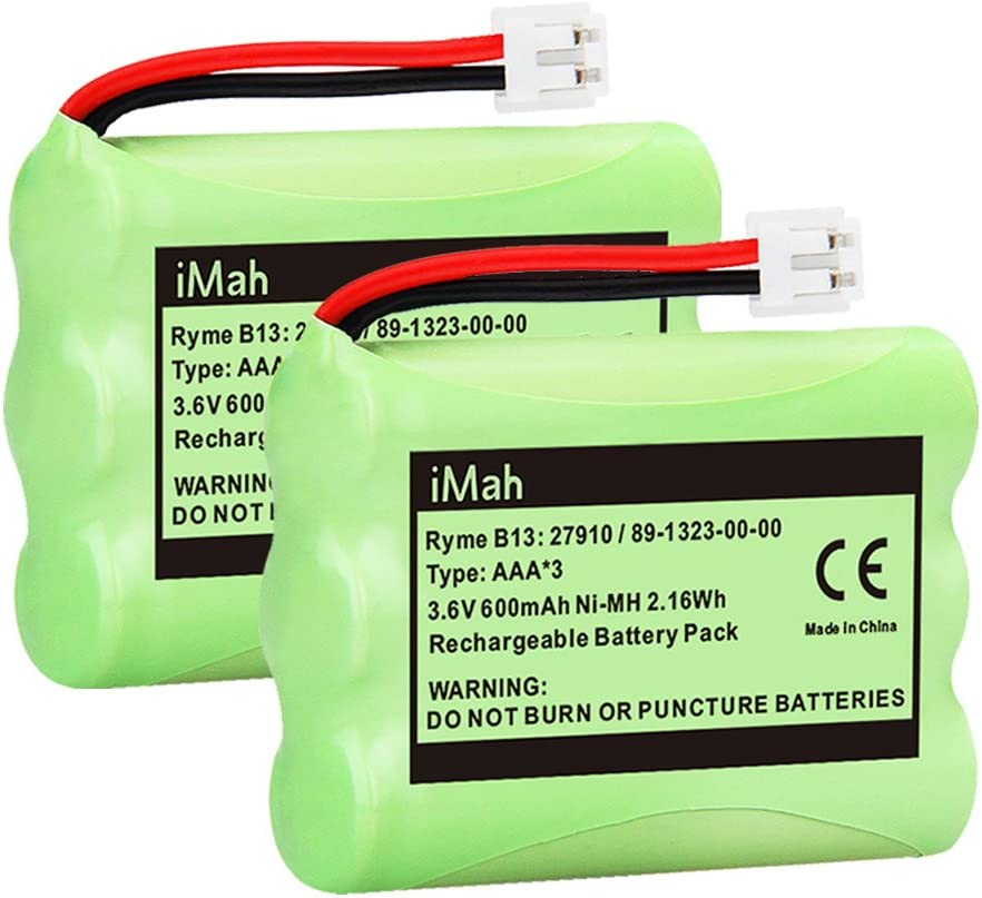 iMah 27910 Cordless Phone Battery Pack Compatible with AT&T 89-1323-00-0 Motorola SD-7501 Vtech 27910 I6725 RadioShack 23-959 Home Handset 3.6V Ni-MH, Pack of 2