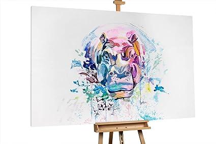 KunstLoft® Extravagante cuadro al óleo \'Herb, the Hippo\' 180x120cm ...