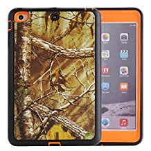 MOONCASE iPad Mini 1 / 2 / 3 Case, [Realtree Camo Series] 3 Layers Heavy Duty Defender Hybrid Soft TPU +PC Bumper Triple Shockproof Drop Resistance Protective Case Cover for Apple iPad Mini 1 / iPad Mini 2 / iPad Mini 3 -Orange Withered