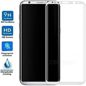 REY Protector de Pantalla Curvo para Samsung Galaxy S8 Plus / S8+, Plata, Cristal Vidrio Templado Premium, 3D / 4D / 5D: Amazon.es: Electrónica