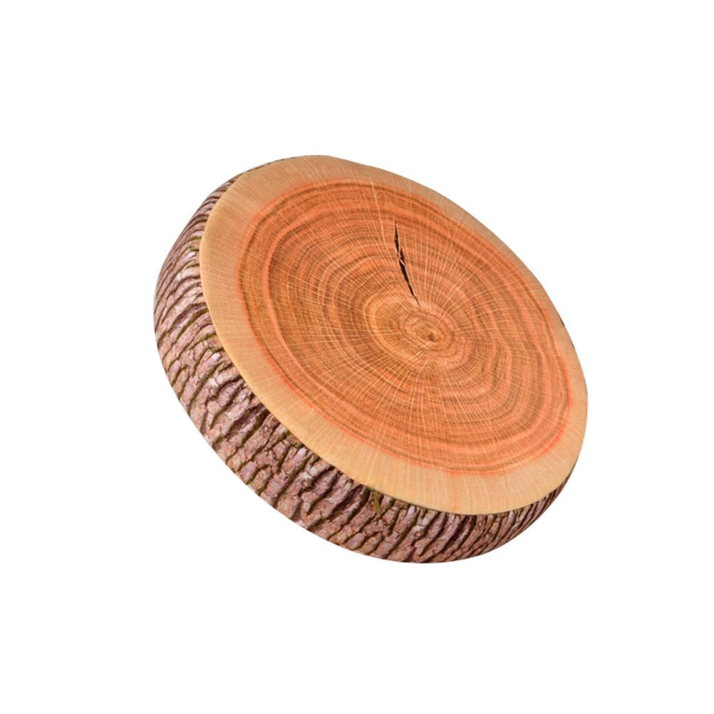 3D Digital Print Chair Seat Cushion Stump Shaped Pillow Round Wood Tree Soft Plush Pads