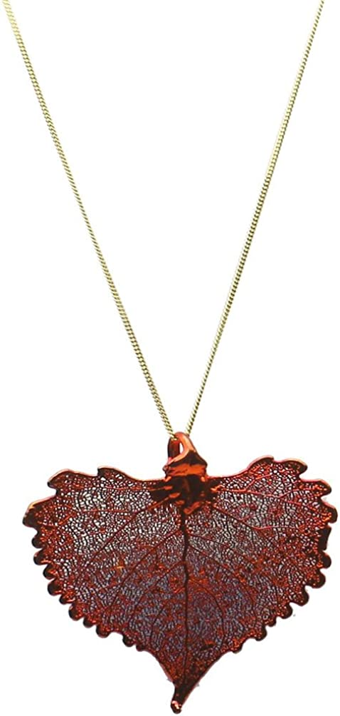 16 Gold-Plated Aspen Leaf Pendant 18k Gold-Flashed Sterling Silver Serpentine Chain Necklace