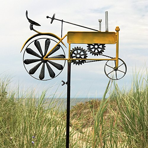 Whole House Worlds The Americana Yellow Farm Tractor Garden Stake, Spinning Wheel, Vintage Style Outdoor Decoration, Rustic Yellow With Antiqued Finish, 4 Ft 4 Inches Tall, (130 cm) By (Tractor Spinner)